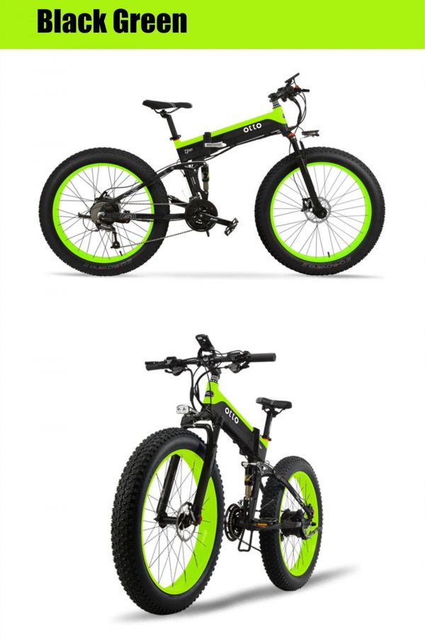 Affordable Powerful Folding 26 Inch Fat Tyre Electric Mountain Bike T500 OS (Green/Blue/Yellow)  eBikesPro Australia
