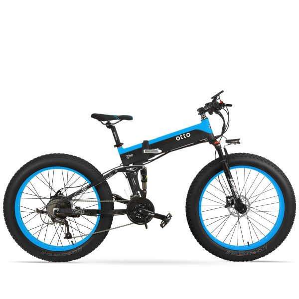 Affordable Powerful Folding 26 Inch Fat Tyre Electric Mountain Bike T500 OS (Green/Blue/Yellow) Blue Black / 26 inch eBikesPro Australia