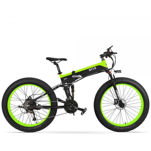 Affordable Powerful Folding 26 Inch Fat Tyre Electric Mountain Bike T500 OS (Green/Blue/Yellow) Green Black / 26 inch eBikesPro Australia