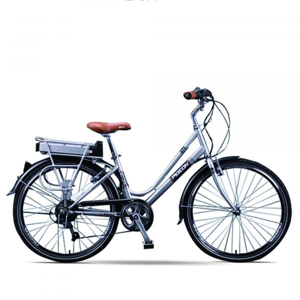 "Beautiful Lightweight 26"" Step Through 6 Speed External Battery Electric Bike Flying Pigeon OS (Silver/Yellow) Silver / 26 inch eBikesPro Australia"